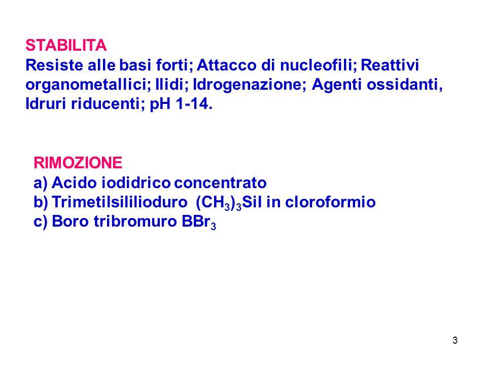 3 STABILITA Resiste alle basi forti; Attacco di nucleofili; Reattivi organometallici; Ilidi; Idrogenazione; Agenti ossidanti, Idruri riducenti; pH 1-1