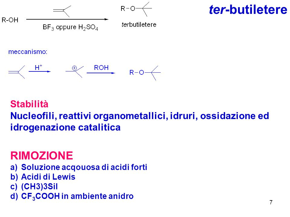 7 ter-butiletere Stabilità Nucleofili, reattivi organometallici, idruri, ossidazione ed idrogenazione catalitica RIMOZIONE a)Soluzione acqouosa di aci