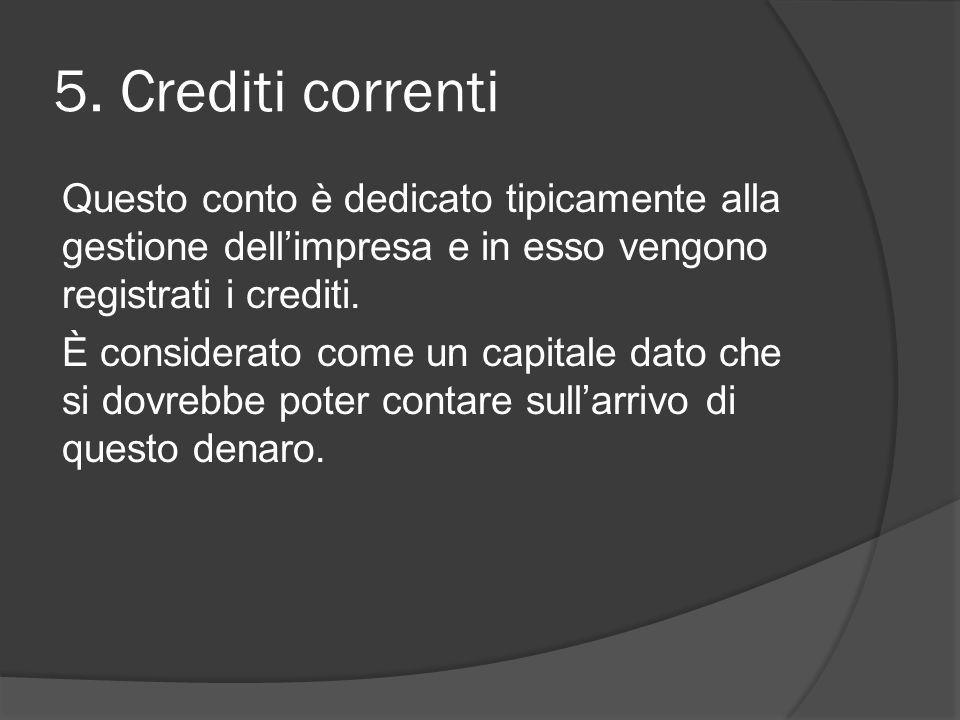 5. Crediti correnti Questo conto è dedicato tipicamente alla gestione dell'impresa e in esso vengono registrati i crediti. È considerato come un capit