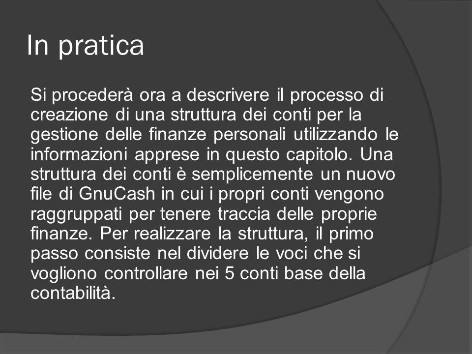 In pratica Si procederà ora a descrivere il processo di creazione di una struttura dei conti per la gestione delle finanze personali utilizzando le informazioni apprese in questo capitolo.