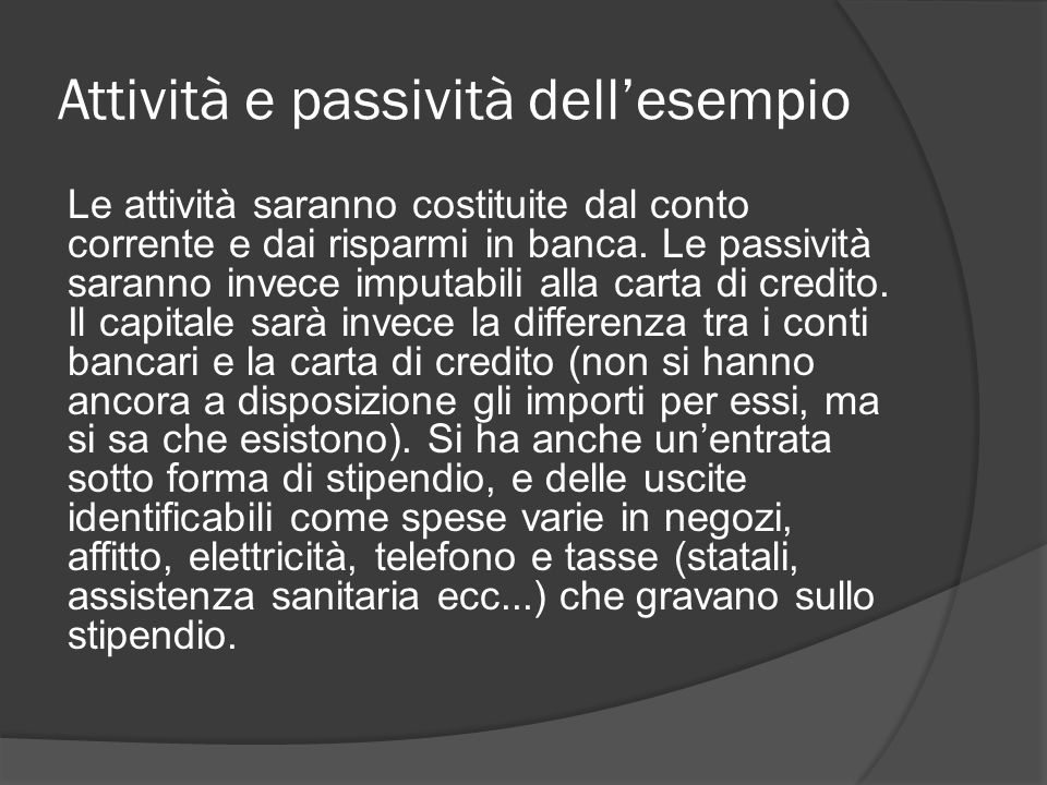 Attività e passività dell'esempio Le attività saranno costituite dal conto corrente e dai risparmi in banca.
