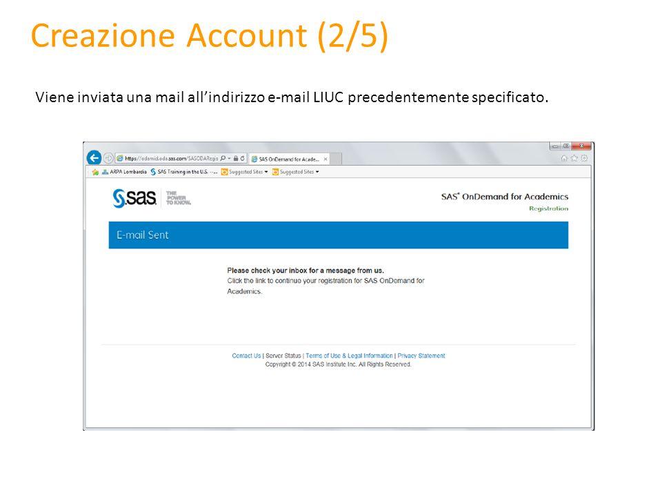 Creazione Account (2/5) Viene inviata una mail all'indirizzo e-mail LIUC precedentemente specificato.