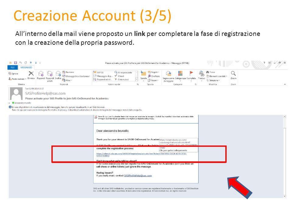 Creazione Account (3/5) All'interno della mail viene proposto un link per completare la fase di registrazione con la creazione della propria password.