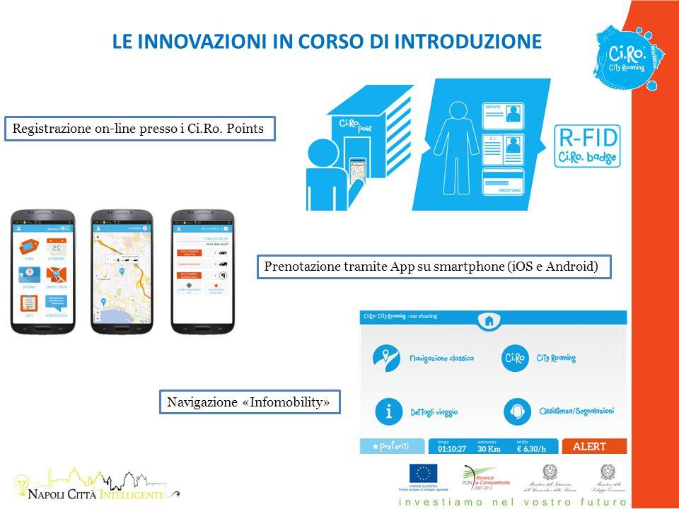Prenotazione tramite App su smartphone (iOS e Android) LE INNOVAZIONI IN CORSO DI INTRODUZIONE Registrazione on-line presso i Ci.Ro. Points Navigazion
