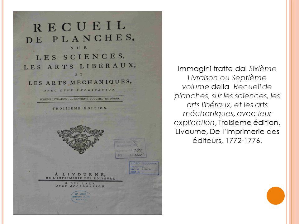 Immagini tratte dal Sixième Livraison ou Septième volume della Recueil de planches, sur les sciences, les arts libéraux, et les arts méchaniques, avec
