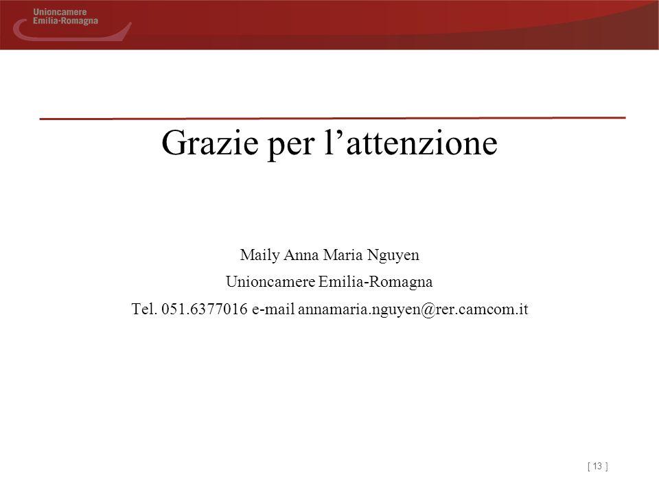 [ 13 ] Grazie per l'attenzione Maily Anna Maria Nguyen Unioncamere Emilia-Romagna Tel.