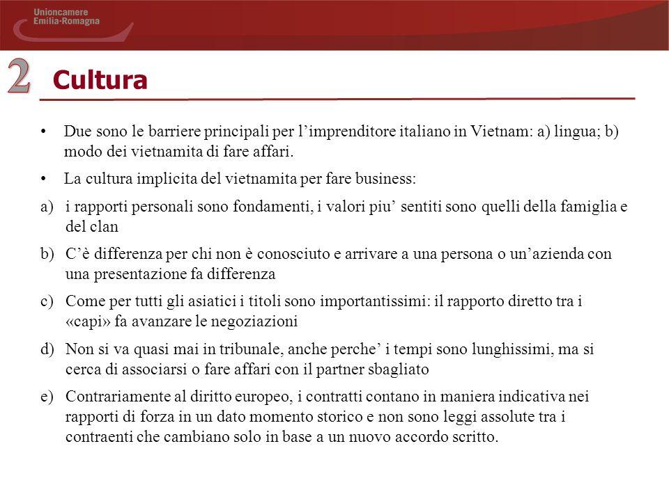 Cultura Due sono le barriere principali per l'imprenditore italiano in Vietnam: a) lingua; b) modo dei vietnamita di fare affari.