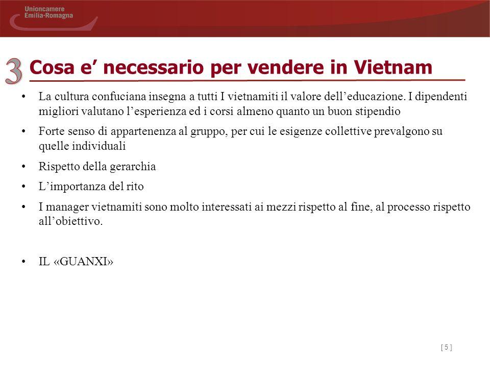 [ 5 ] Cosa e' necessario per vendere in Vietnam La cultura confuciana insegna a tutti I vietnamiti il valore dell'educazione.