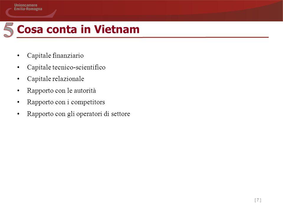 [ 7 ] Cosa conta in Vietnam Capitale finanziario Capitale tecnico-scientifico Capitale relazionale Rapporto con le autorità Rapporto con i competitors Rapporto con gli operatori di settore
