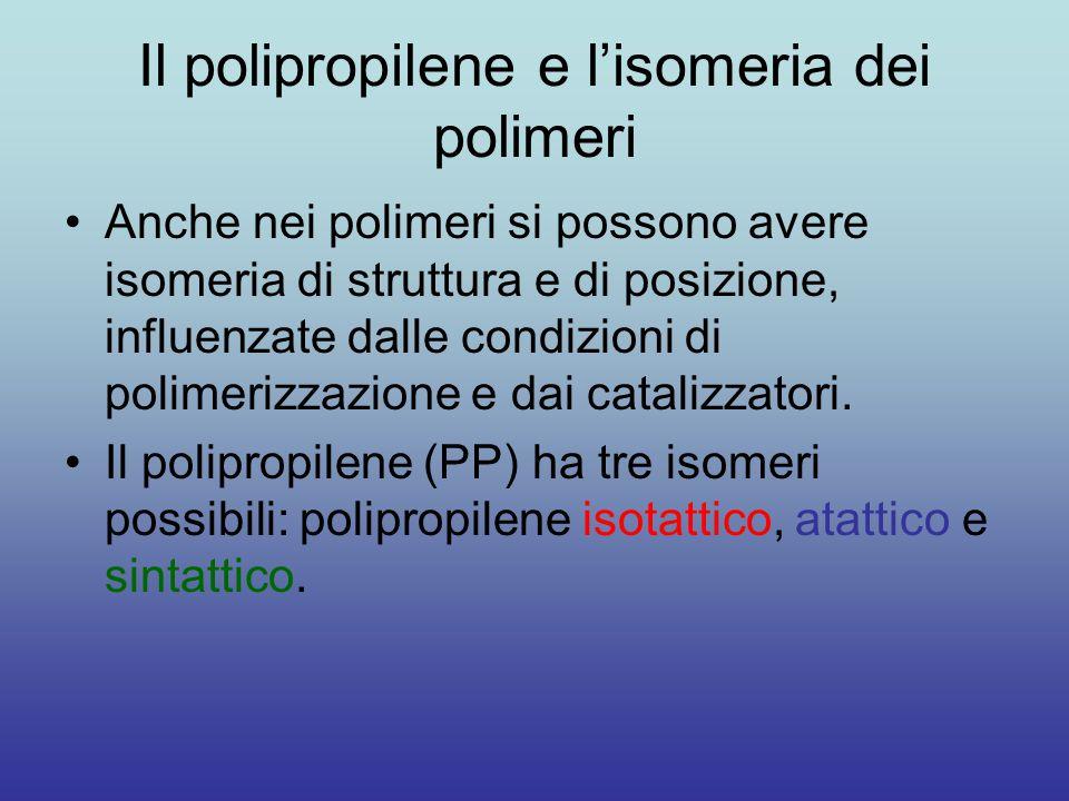 Il polipropilene e l'isomeria dei polimeri Anche nei polimeri si possono avere isomeria di struttura e di posizione, influenzate dalle condizioni di polimerizzazione e dai catalizzatori.