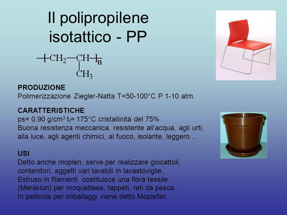 Il polipropilene isotattico - PP PRODUZIONE Polimerizzazione Ziegler-Natta T=50-100°C P 1-10 atm. CARATTERISTICHE ps= 0,90 g/cm 3 t f = 175°C cristall