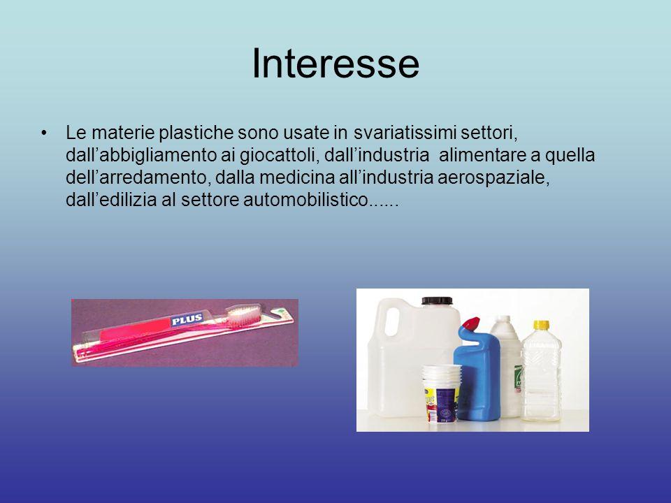 Interesse Le materie plastiche sono usate in svariatissimi settori, dall'abbigliamento ai giocattoli, dall'industria alimentare a quella dell'arredamento, dalla medicina all'industria aerospaziale, dall'edilizia al settore automobilistico......