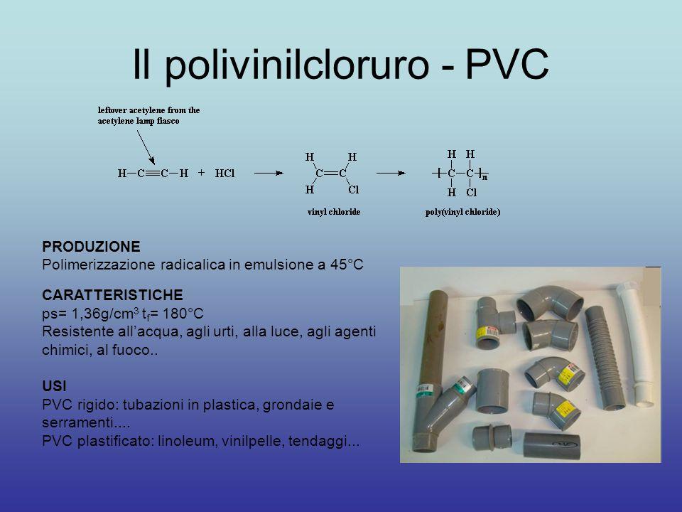 Il polivinilcloruro - PVC PRODUZIONE Polimerizzazione radicalica in emulsione a 45°C CARATTERISTICHE ps= 1,36g/cm 3 t f = 180°C Resistente all'acqua, agli urti, alla luce, agli agenti chimici, al fuoco..