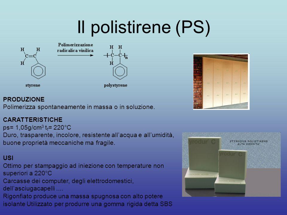 Il polistirene (PS) PRODUZIONE Polimerizza spontaneamente in massa o in soluzione. CARATTERISTICHE ps= 1,05g/cm 3 t f = 220°C Duro, trasparente, incol