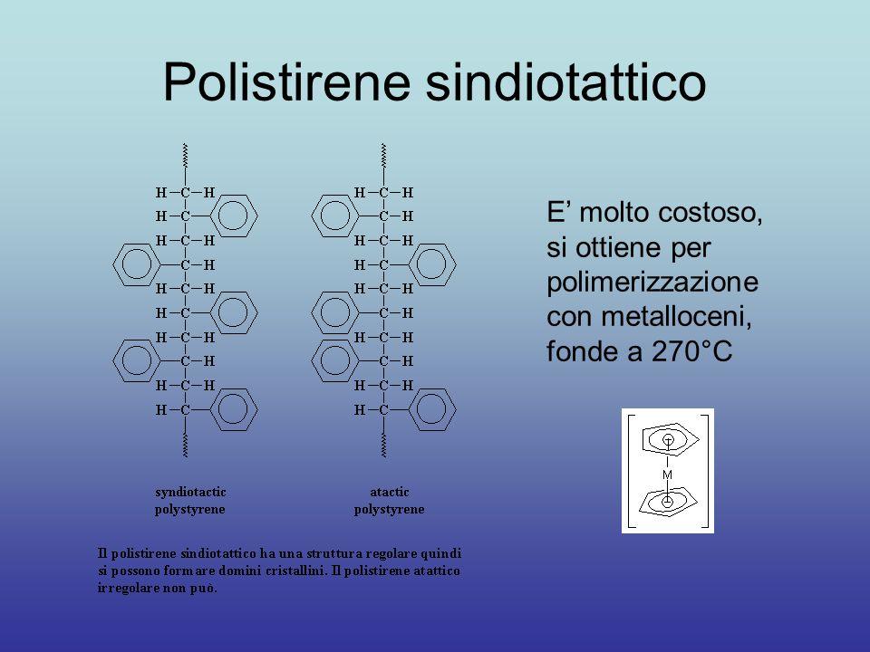 Polistirene sindiotattico E' molto costoso, si ottiene per polimerizzazione con metalloceni, fonde a 270°C