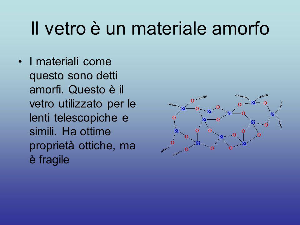 Il vetro è un materiale amorfo I materiali come questo sono detti amorfi. Questo è il vetro utilizzato per le lenti telescopiche e simili. Ha ottime p