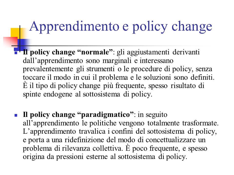 Apprendimento e policy change Il policy change normale : gli aggiustamenti derivanti dall'apprendimento sono marginali e interessano prevalentemente gli strumenti o le procedure di policy, senza toccare il modo in cui il problema e le soluzioni sono definiti.