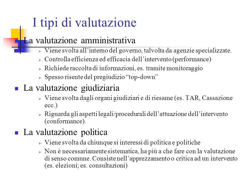 I tipi di valutazione La valutazione amministrativa  Viene svolta all'interno del governo, talvolta da agenzie specializzate.