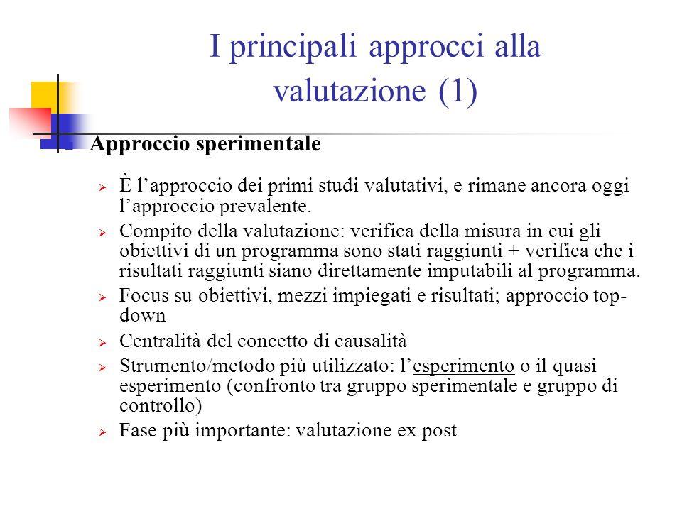 I principali approcci alla valutazione (1) Approccio sperimentale  È l'approccio dei primi studi valutativi, e rimane ancora oggi l'approccio prevalente.