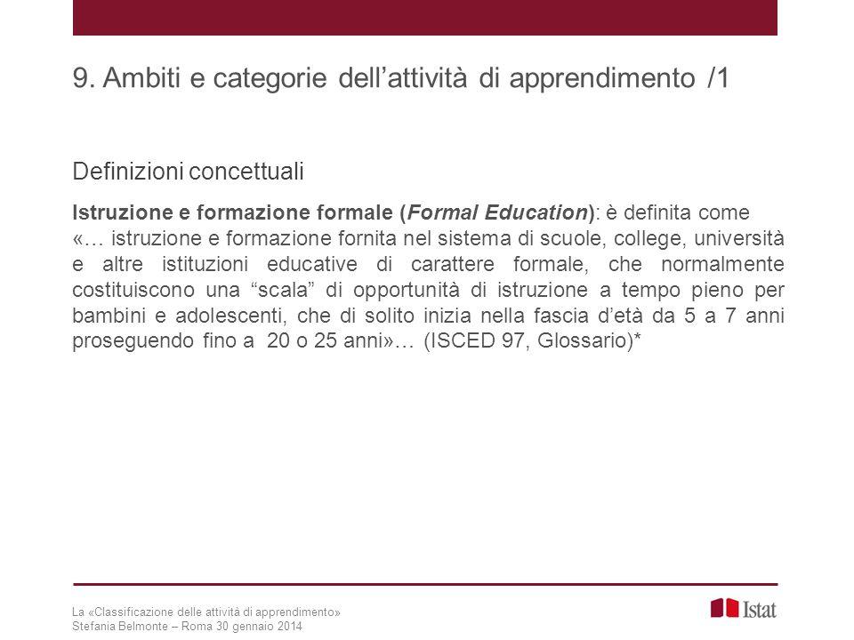Definizioni concettuali Istruzione e formazione formale (Formal Education): è definita come «… istruzione e formazione fornita nel sistema di scuole,