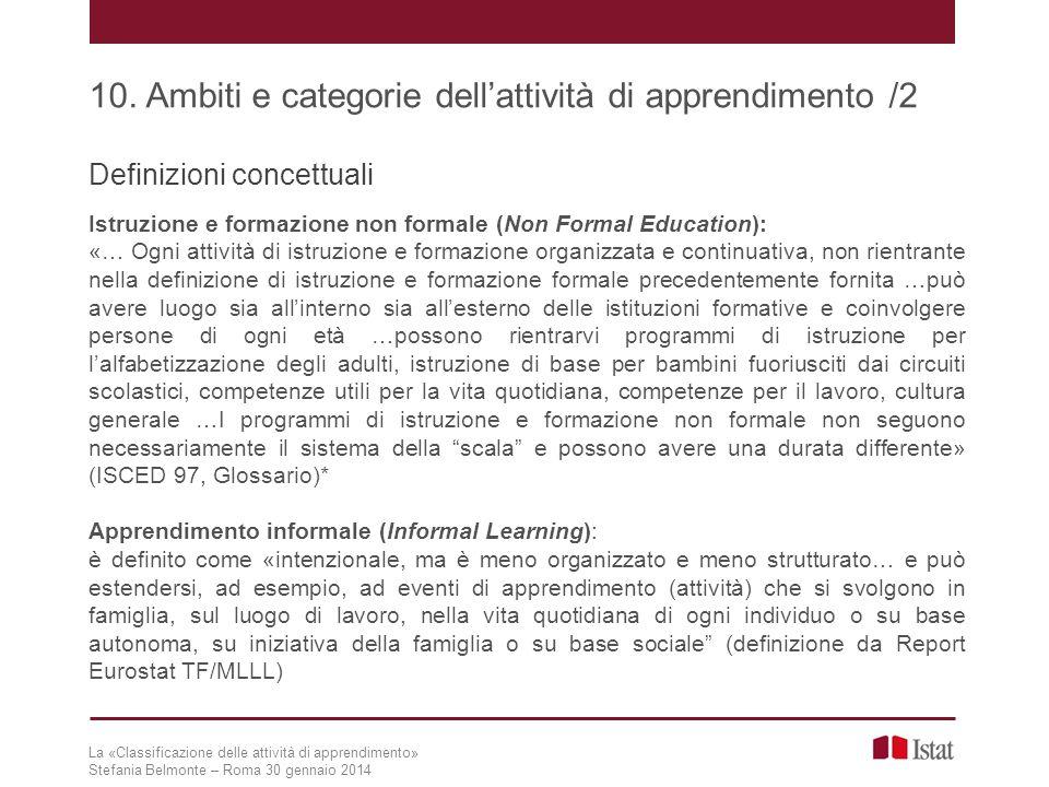 Definizioni concettuali Istruzione e formazione non formale (Non Formal Education): «… Ogni attività di istruzione e formazione organizzata e continua