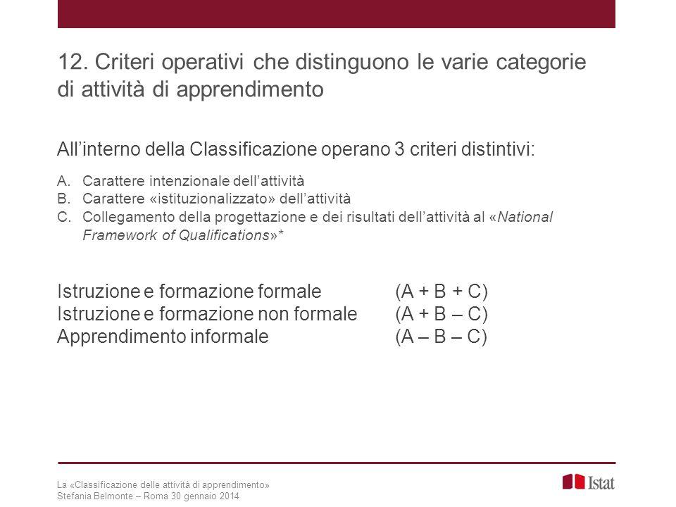 La «Classificazione delle attività di apprendimento» Stefania Belmonte – Roma 30 gennaio 2014 12. Criteri operativi che distinguono le varie categorie
