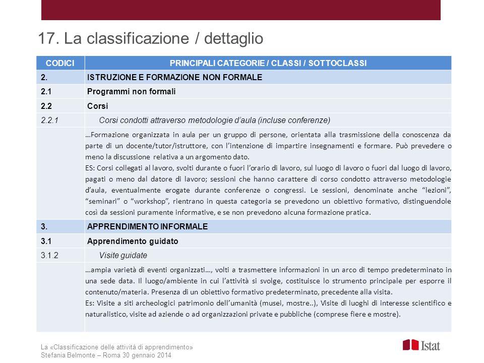 La «Classificazione delle attività di apprendimento» Stefania Belmonte – Roma 30 gennaio 2014 17. La classificazione / dettaglio CODICIPRINCIPALI CATE