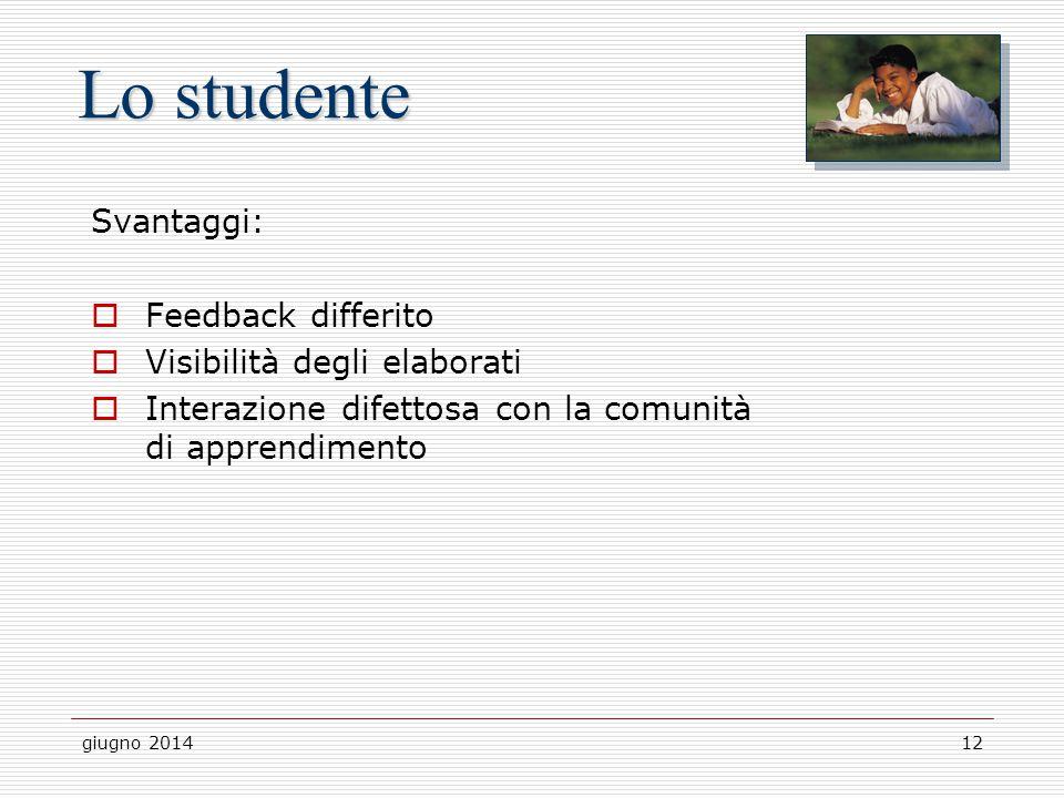 giugno 201412 Lo studente Svantaggi:  Feedback differito  Visibilità degli elaborati  Interazione difettosa con la comunità di apprendimento