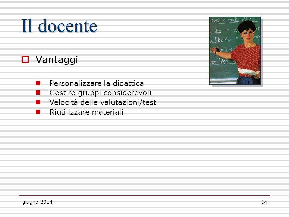 giugno 201414 Il docente  Vantaggi Personalizzare la didattica Gestire gruppi considerevoli Velocità delle valutazioni/test Riutilizzare materiali