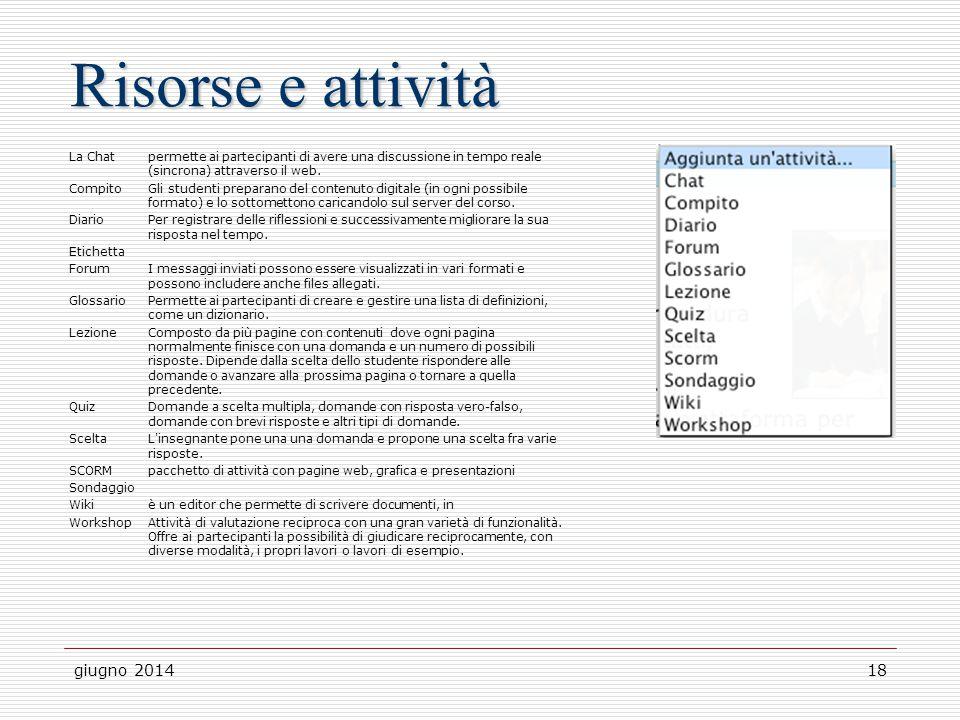 giugno 201418 Risorse e attività La Chatpermette ai partecipanti di avere una discussione in tempo reale (sincrona) attraverso il web. Compito Gli stu
