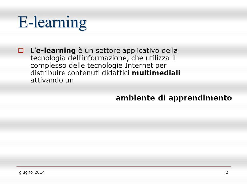 giugno 20142 E-learning  L'e-learning è un settore applicativo della tecnologia dell'informazione, che utilizza il complesso delle tecnologie Interne