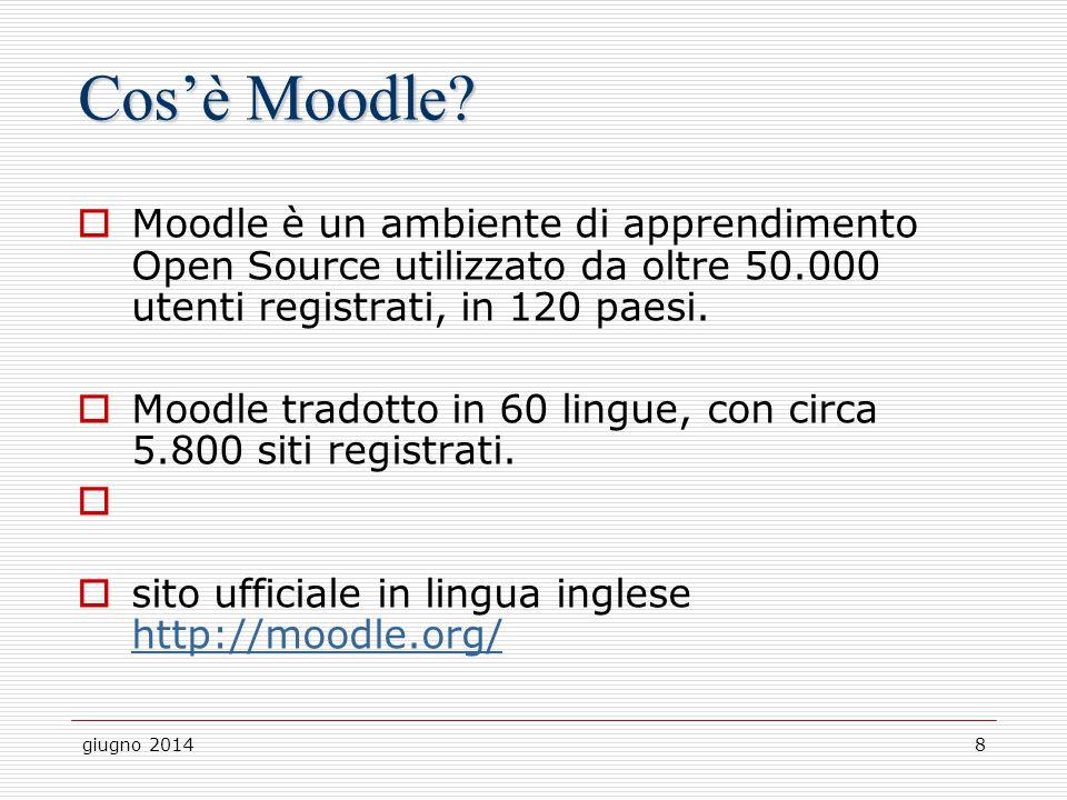 giugno 20148 Cos'è Moodle?  Moodle è un ambiente di apprendimento Open Source utilizzato da oltre 50.000 utenti registrati, in 120 paesi.  Moodle tr