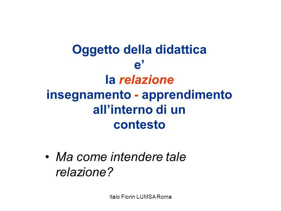 Oggetto della didattica e' la relazione insegnamento - apprendimento all'interno di un contesto Ma come intendere tale relazione? Italo Fiorin LUMSA R