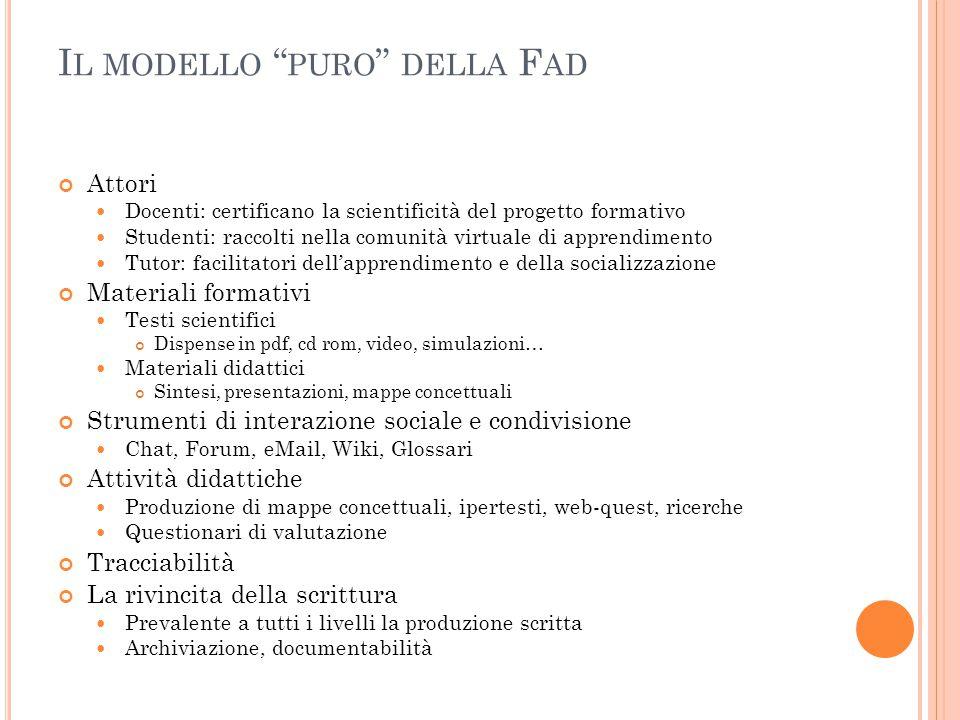 """I L MODELLO """" PURO """" DELLA F AD Attori Docenti: certificano la scientificità del progetto formativo Studenti: raccolti nella comunità virtuale di appr"""
