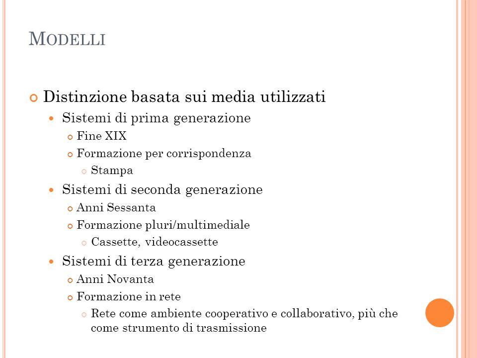M ODELLI Distinzione basata sui media utilizzati Sistemi di prima generazione Fine XIX Formazione per corrispondenza Stampa Sistemi di seconda generaz