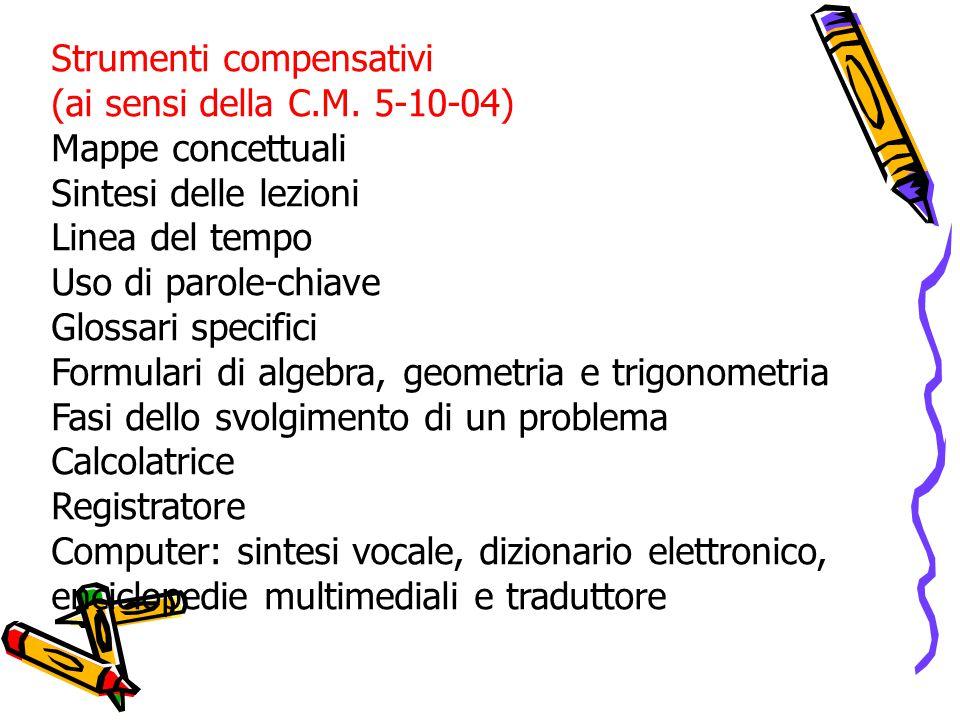 Strumenti compensativi (ai sensi della C.M.