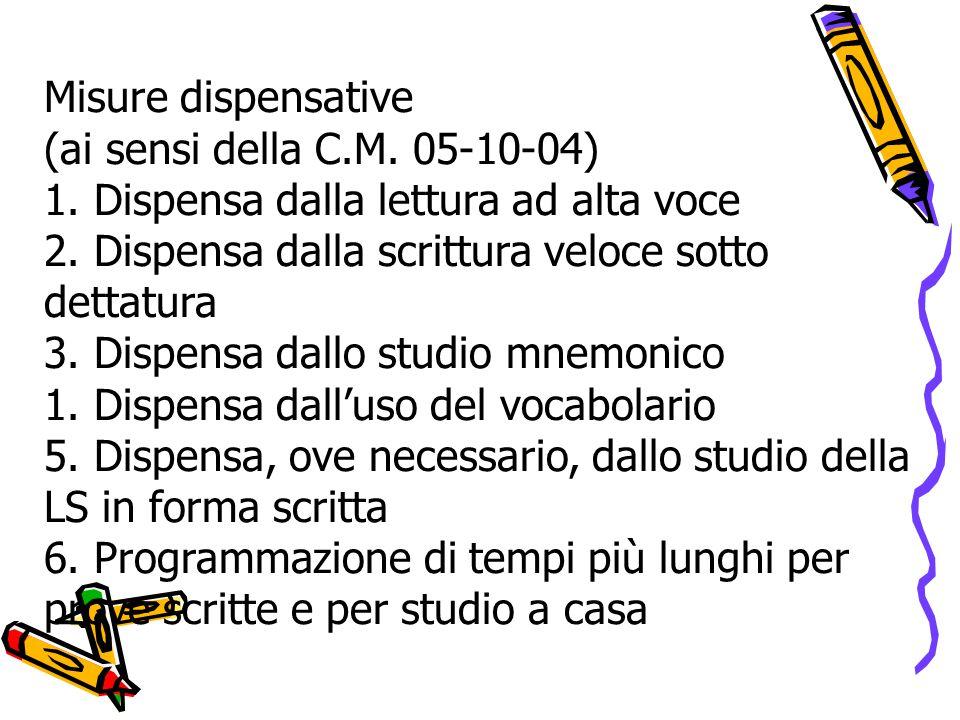 Misure dispensative (ai sensi della C.M. 05-10-04) 1.
