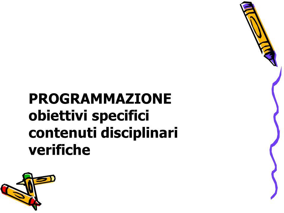 PROGRAMMAZIONE obiettivi specifici contenuti disciplinari verifiche