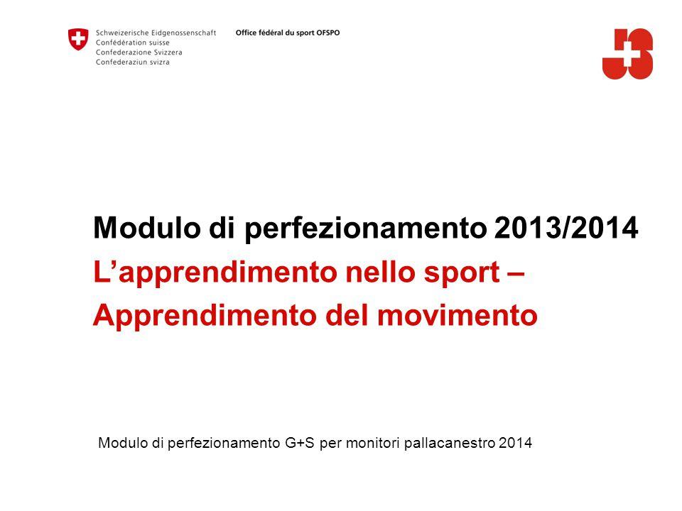 Modulo di perfezionamento 2013/2014 L'apprendimento nello sport – Apprendimento del movimento Modulo di perfezionamento G+S per monitori pallacanestro