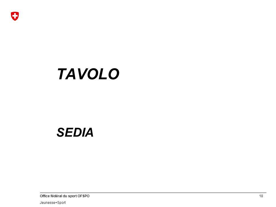 18 Office fédéral du sport OFSPO Jeunesse+Sport TAVOLO SEDIA