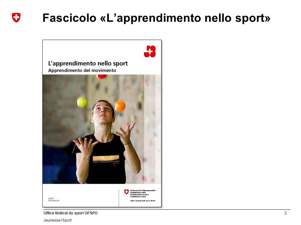 2 Office fédéral du sport OFSPO Jeunesse+Sport Fascicolo «L'apprendimento nello sport»