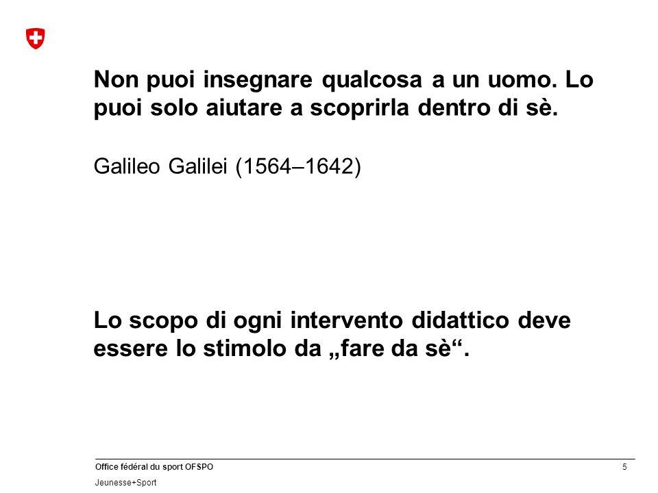 5 Office fédéral du sport OFSPO Jeunesse+Sport Non puoi insegnare qualcosa a un uomo. Lo puoi solo aiutare a scoprirla dentro di sè. Galileo Galilei (