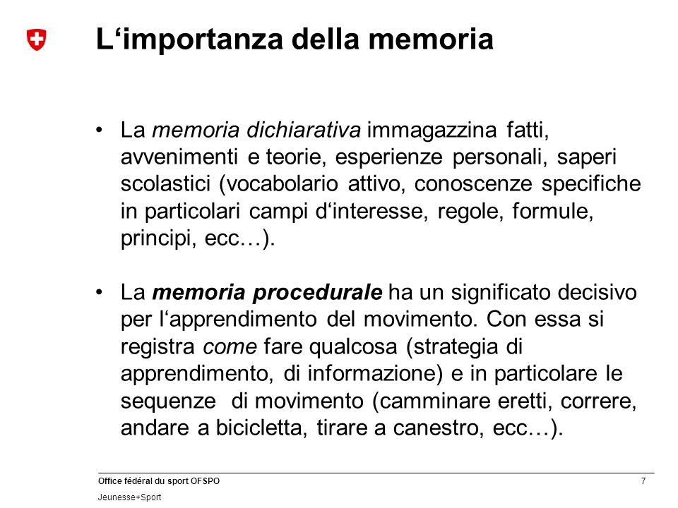 7 Office fédéral du sport OFSPO Jeunesse+Sport La memoria dichiarativa immagazzina fatti, avvenimenti e teorie, esperienze personali, saperi scolastic