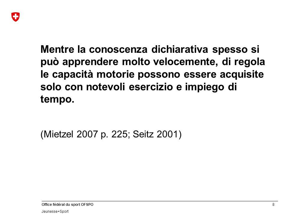 8 Office fédéral du sport OFSPO Jeunesse+Sport Mentre la conoscenza dichiarativa spesso si può apprendere molto velocemente, di regola le capacità mot