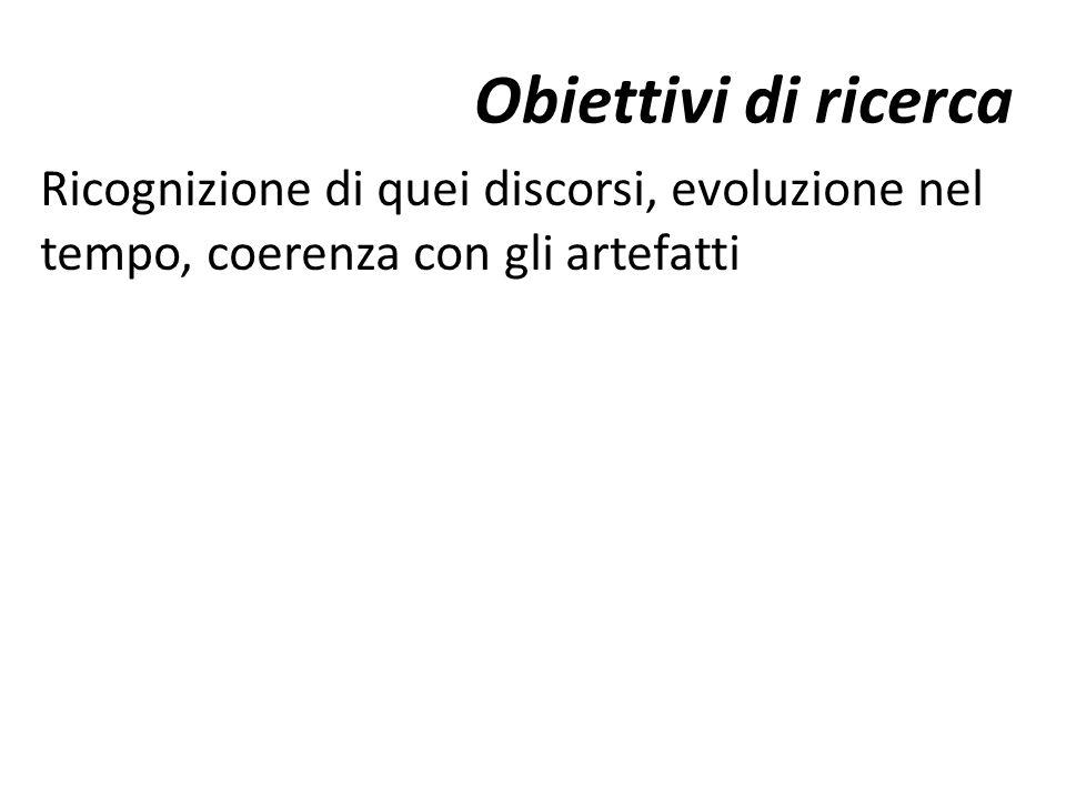 Obiettivi di ricerca Ricognizione di quei discorsi, evoluzione nel tempo, coerenza con gli artefatti