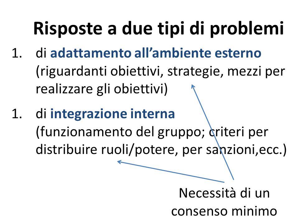 Risposte a due tipi di problemi 1.di adattamento all'ambiente esterno (riguardanti obiettivi, strategie, mezzi per realizzare gli obiettivi) 1.di inte