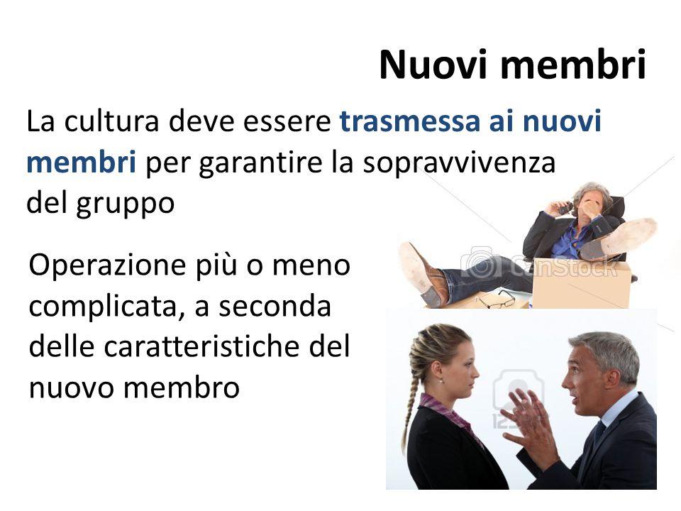 Nuovi membri La cultura deve essere trasmessa ai nuovi membri per garantire la sopravvivenza del gruppo Operazione più o meno complicata, a seconda delle caratteristiche del nuovo membro