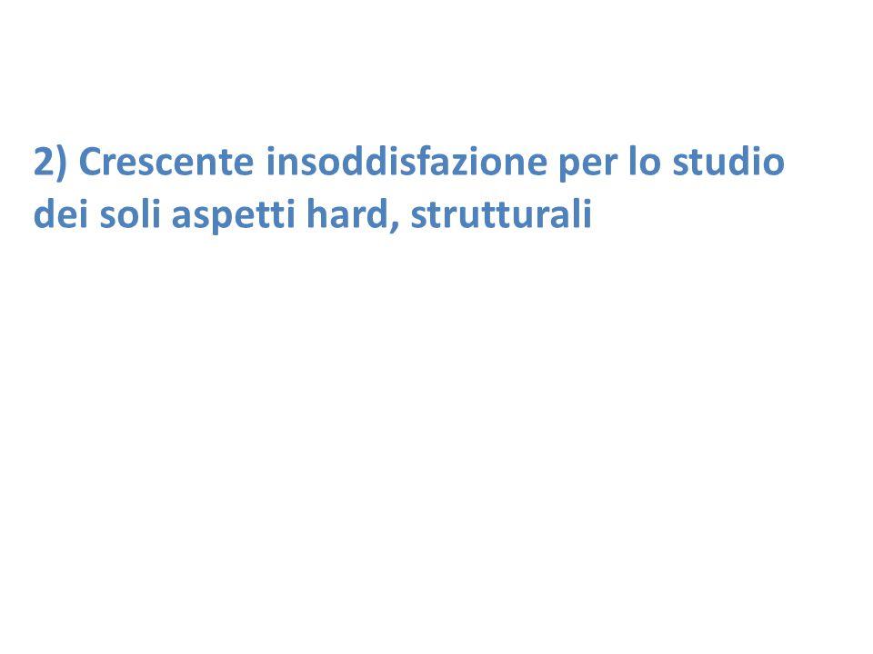 2) Crescente insoddisfazione per lo studio dei soli aspetti hard, strutturali