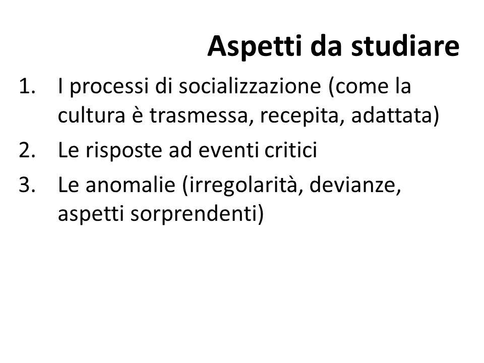 Aspetti da studiare 1.I processi di socializzazione (come la cultura è trasmessa, recepita, adattata) 2.Le risposte ad eventi critici 3.Le anomalie (irregolarità, devianze, aspetti sorprendenti)