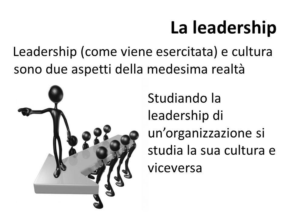 La leadership Leadership (come viene esercitata) e cultura sono due aspetti della medesima realtà Studiando la leadership di un'organizzazione si studia la sua cultura e viceversa